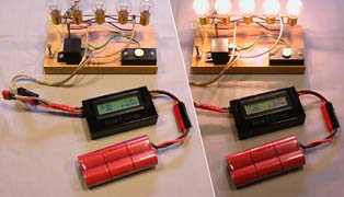The Astroflight WhattMeter displays current, voltage, power, and accumulated capacity all at the same time. Here we are using it to determine the internal resistance of this 6-cell 1250SCR battery. The difference in voltage (0.8V) divided by the current (9.5A) gives a resistance of 0.084 Ohms (including the cell interconnections, wires, and connectors).