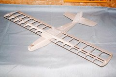 Completed airframe, ready for covering. The prototype weighed 1.7oz (48g) at this stage.