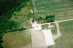 This is our house, garage, barn, shed, and my Mum-in-law's mobile home, from about 1000ft.