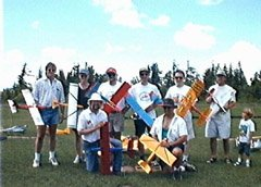 "These are the entrants in the Speed 400 ""Piker"" class pylon racing. From left to right: Andre W., Glen Nikolaiko, Martin Irvine, John Werner, Rob Pike, ???, me, and Jean-Claude ???."