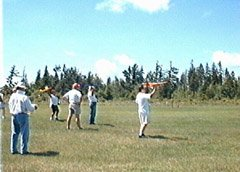 The second heat ready to launch. Me and the Sydney are on the right. Notice the well groomed flying area. The trees are further away than they look.