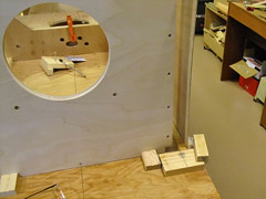 Positioning block and guide at the front to help with alignment during glue-up.