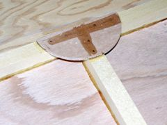 One of the semi-circular gussets, glued and nailed in place.