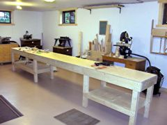 The completed 16' by 2' workbench.